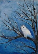 ACEO Original Art Painting White Owl in Tree, Night Owl, Male Owl hunting