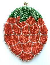 Vintage Red Seed Beaded Strawberry Coin Purse Korea EUC