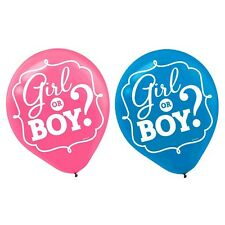 15 x 'Is it a Girl or Boy?' Baby Shower Gender Reveal Latex Printed BALLOONS
