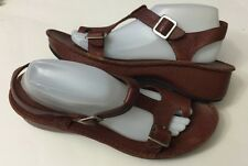 Hush Puppies Brown Leather Strappy Sandals Women's Size 11 Or 12