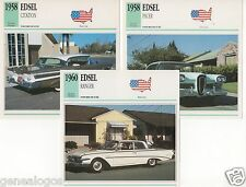 3 FICHES AUTOMOBILE USA CAR EDSEL CITATION PACER RANGER 1958-1960