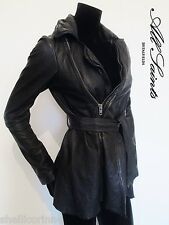 STUNNING WOMENS ALL SAINTS NETIA LEATHER JACKET DRAPED COAT BIKER BLACK 10 £450