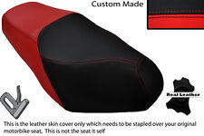 Negro Y Rojo Custom encaja Sym euro Mx 125 Doble Cuero Funda De Asiento
