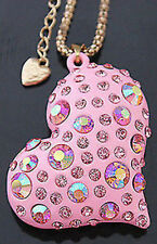 "Betsey Johnson ""Rare""  crystal Heart  necklace & Free Gift USA SELLER"