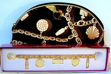 NIB Estee Lauder Golden Icons Charm Bracelet w/ MATCHING SATIN MAKEUP BAG CASE