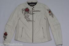 Harley Davidson Women PACIFIC COAST Rose White Leather Jacket 97012-10VW XS Rare