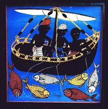 AFRICAN TANZANIA Artist Signed Folk Art Post Card Fisherman Fish Boat New VTG 91