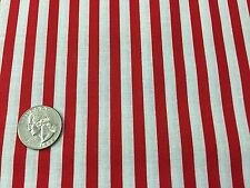 Fabric Stripes Red Thin on White Cotton by the 1/4 Yard BIN