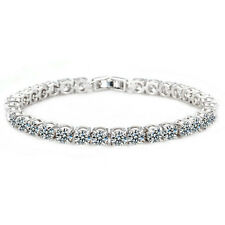 GORGEOUS 18K WHITE GOLD PLATED & CLEAR CUBIC ZIRCONIA TENNIS  BRACELET