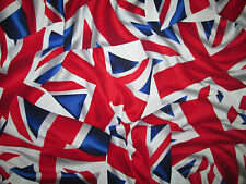 BRITISH UK FLAG WAVY LONDON COTTON FABRIC BTHY