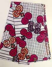 African Print Fabric, Ankara - Pink, White, Brown 'Magic Beans', By the Yard