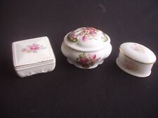 COLLECTION OF 3 LIDDED TRINKET POTS / PIN DISHES ~FENTON CHINA & 2 OTHERS