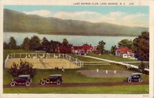 LAKE GEORGE CLUB, LAKE GEORGE, N.Y. view of tennis courts - vintage autos