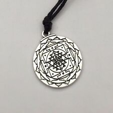 Sri Yantra Pendant Necklace Silver plated Sacred geometry jewelry (Vintage)