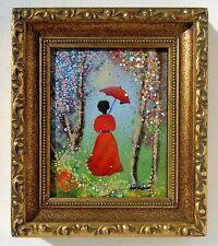 LOUIS CARDIN LISTED ARTIST ENAMEL ON COPPER GIRL LADY IN WOODS SIGNED PAINTING.