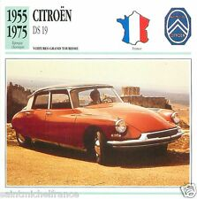CITROEN DS 19 1955 1975 CAR  VOITURE FRANCE CARTE CARD FICHE