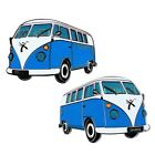VW Splitty Van Geovan Geocoin with Travel Bug Copy Dog Tag, blue or green