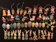 55 German Style Wood Wooden Easter Tree Ornaments ~ Rabbits Birds Eggs Carrots