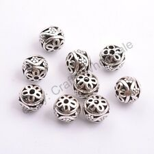 Tibetan Silver Round Metal Carved Flower Hollow Spacer Beads For Jewellry CA2999