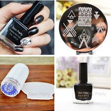 4Pcs BORN PRETTY Nail Art Stamping Plate 15ml Stamp Polish Stamper W/Scraper Kit