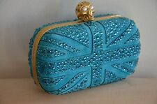 Alexander McQueen Turquoise Suede Crystal Britannia Box Clutch Bag $2295 NEW