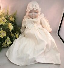 Vtg baby doll in white sleeping gown. Porcelain head made in Japan
