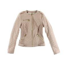 Guess 5114 Womens Skye Pink Faux Leather Quilted Motorcycle Jacket Coat S BHFO
