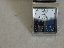 authentic womens DENACCI triple timezone jet set private sector stainless watch