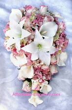 PINK Cascade Bridal Bouquet ~ Roses Calla Lilies Hydrangea Silk Wedding Flowers