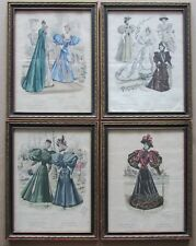 Set of 4: 19th C French Fashion Hand-Colored Engravings Revue de la Mode Framed