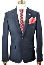 Mens Cavani Slim Fit Designer Herringbone Tweed Ferro Navy Blue Blazer Jacket