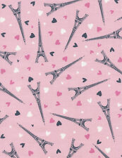 Fabric Eiffel Tower & Hearts on Pink Cotton by the 1/4 yard BIN