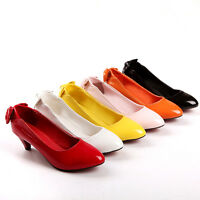Womens Kitten Heel Mary Jane Pointy Toe Bowknot Patent New Pumps Shoes Plus Sz