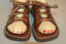 5 NOS VINTAGE 60s TOROS LACE UP SANDAL NEW BROWN LEATHER WOODSTOCK FLAT Shoe