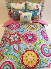 18 Inch Doll Bedding  6 Piece Set Bright Flower Handmade To Fit American Girl