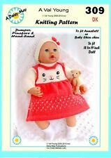 """DOLLS KNITTING PATTERN  for  Annabell  No 309 by VAL YOUNG 17""""-19"""" doll"""