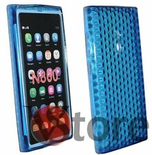 Cover Custodia Per Nokia Lumia 800 Blu Silicone Gel TPU + Pellicola Display