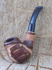 GORGEOUS Wooden Handmade Tobacco Smoking Pipe pear wood CARVED SHIP Boat + Pouch