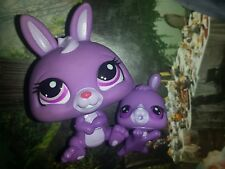 Littlest pet shop Mommy and baby Purple Bunny #3591 #3592