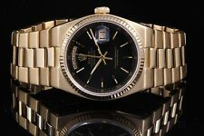 Rolex 18K Yellow Day-Date President Oyster Quartz 19018 with Black Index Dial