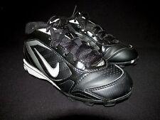 Nike Black Leather Football Soccer Shoes   Kids US 12C EU 29.5