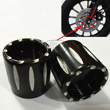 Black Deep Edge Cut Front Axle Cover Cap Nut For Harley Sportster XL883 XL1200