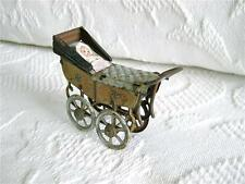Antique Tin Penny Toy BABY CARRIAGE WITH BABY marked Made in Germany
