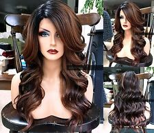 USA: Curly Ombre Auburn Brown LACE FRONT HEAT OK Dark Root Long Wig