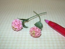 Miniature Loose Stems, Pink Hydrangea (2), LARGE: DOLLHOUSE Flowers 1/12