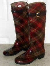 New RALPH LAUREN Collection Ladies  Rain Barn TALL BOOTS Multicolor Brown Red 7B