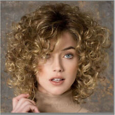 Fashion Women's New Charm Short Brown Blonde Anime Curly Wave Full Wigs+Wig Cap