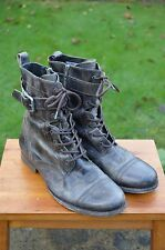 *AWESOME* AllSaints Mens Leather lace up side zip Military Strap boots UK11 US12