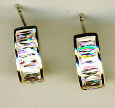 "925 Sterling Silver Cubic Zirconia Curved Front Stud Earrings  L 1/2"" x 1/4"""