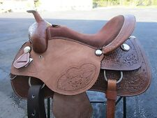 "PLEASURE TRAIL SHOW BARREL RACING 16"" RACER TOOLED LEATHER WESTERN HORSE SADDLE"